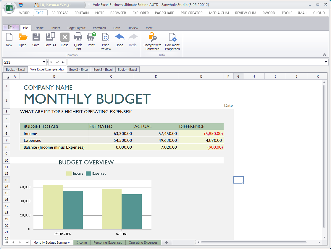Vole Office, Business & Finance Software Screenshot