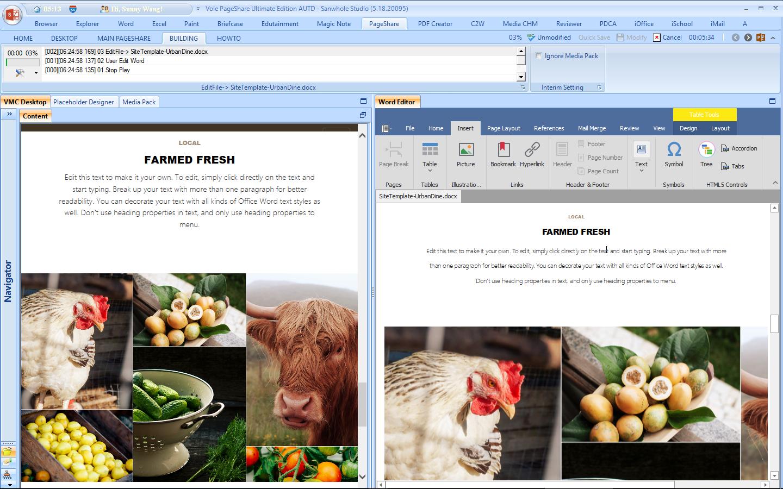 Vole PageShare Professional, Development Software, Website Builder Software Screenshot