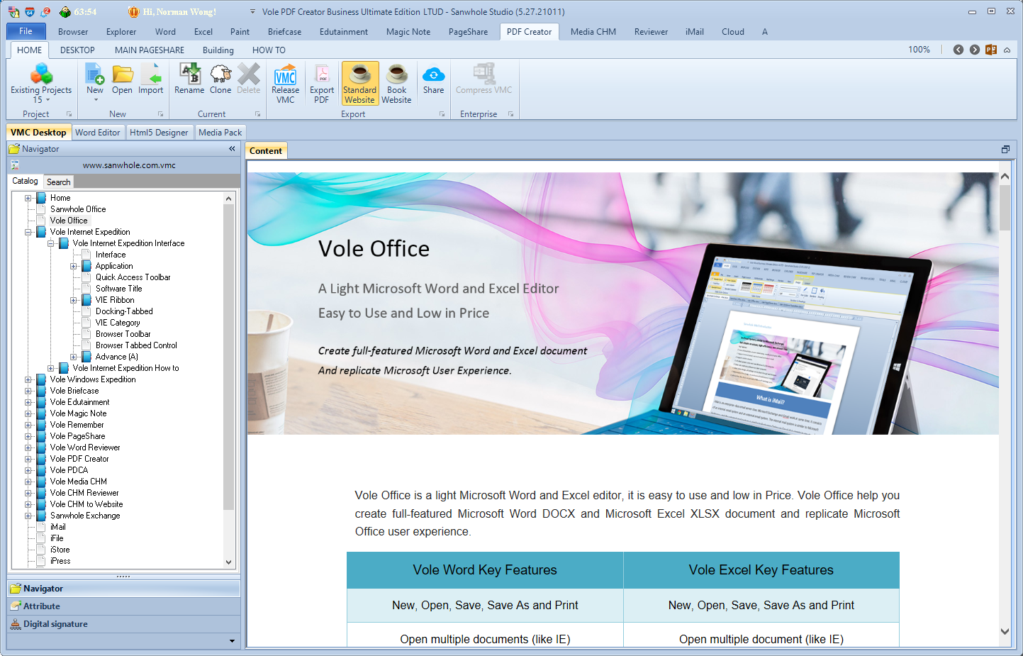 Vole PDF Creator Professional Edition Screenshot