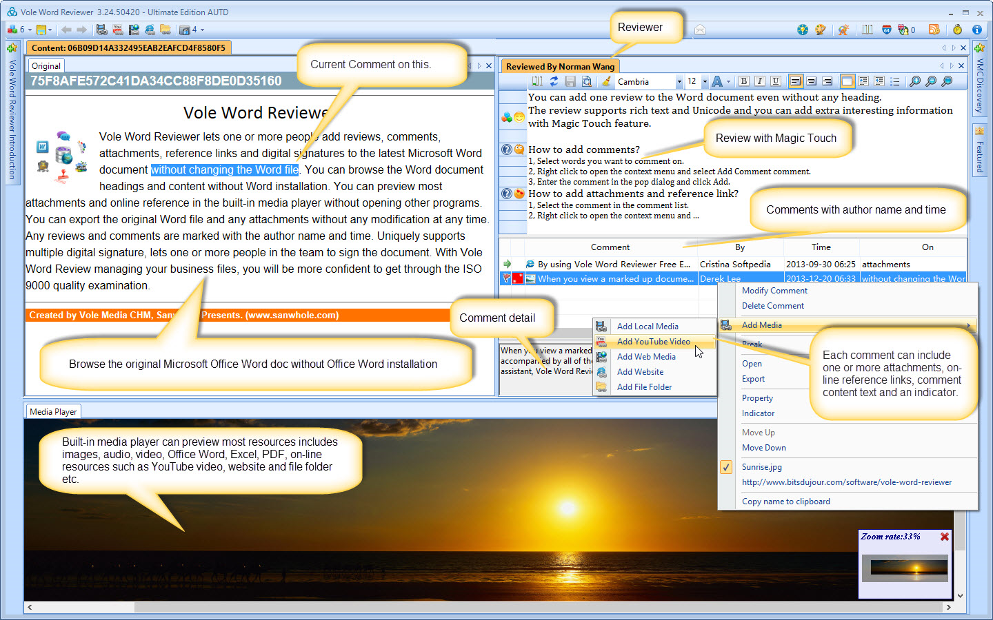 Vole Word Reviewer Professional Edition, Writing and Journaling Software Screenshot