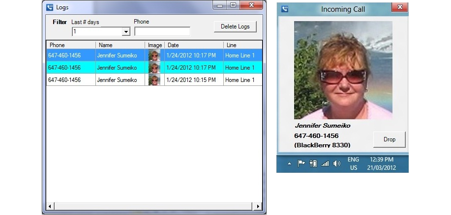 W7 Caller ID, Instant Messaging Software Screenshot