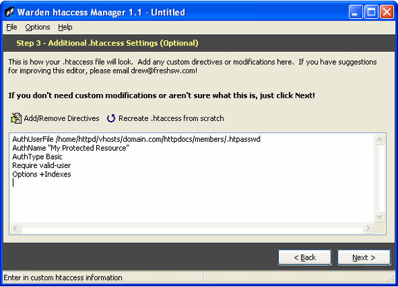 Warden .htaccess Manager, Web Development Software Screenshot