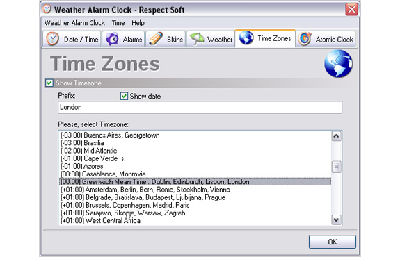Desktop Customization Software, Weather Alarm Clock Screenshot