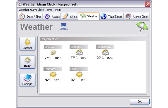 Clock Software, Weather Alarm Clock Screenshot