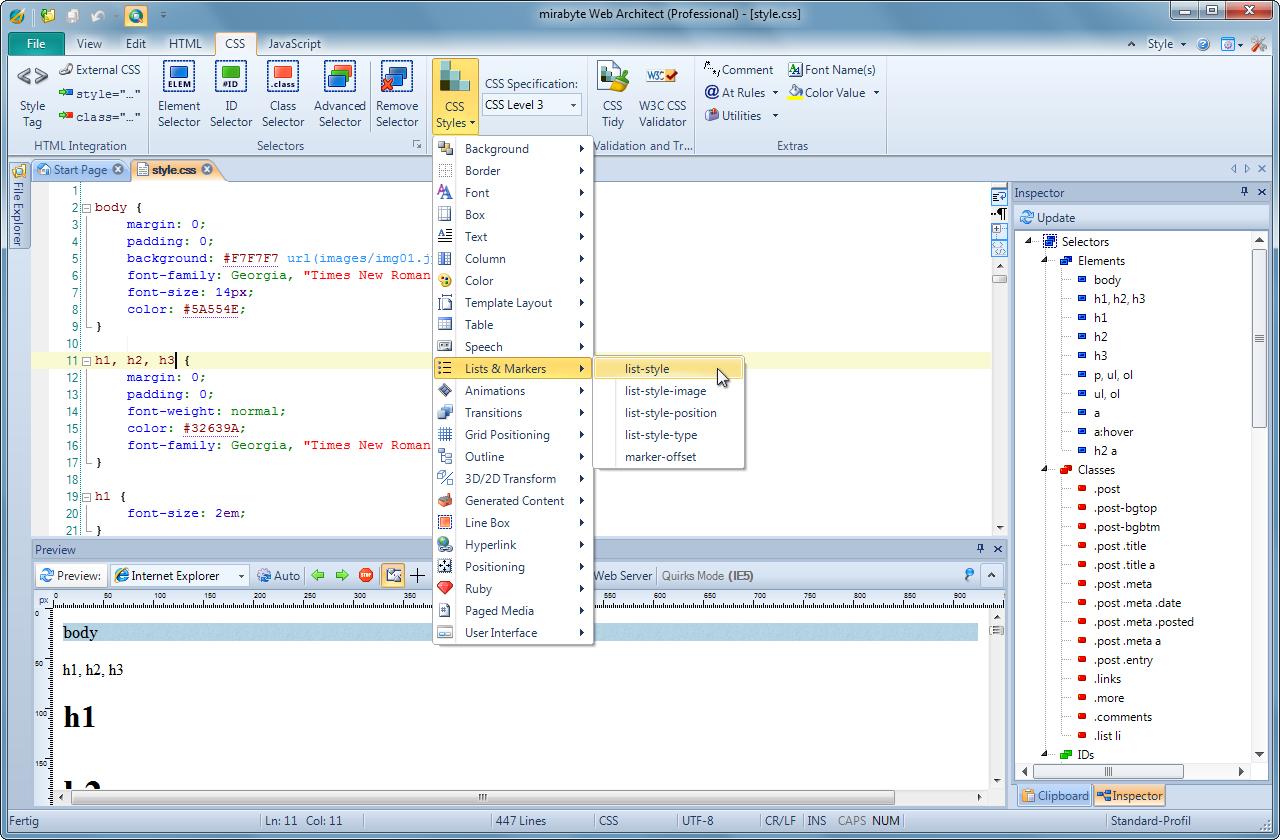 Web Architect 10 Professional, HTML Editor Software Screenshot