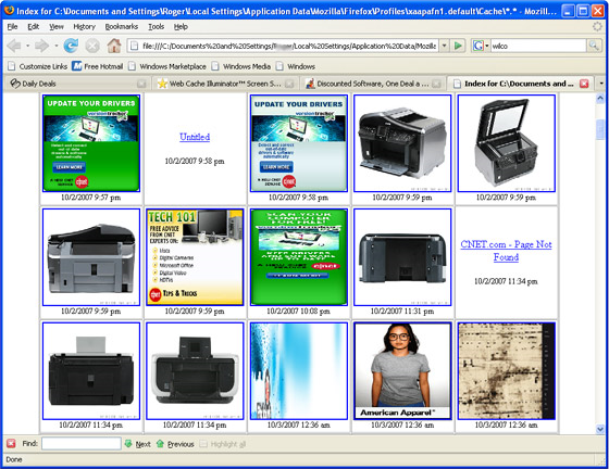 Security Software, Web Cache Illuminator Screenshot