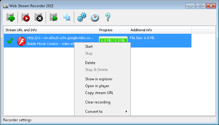 Web Stream Recorder, Internet Software Screenshot