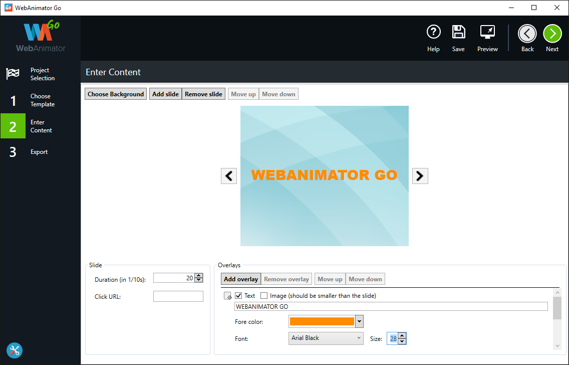 WebAnimator GO, Animation Software Screenshot