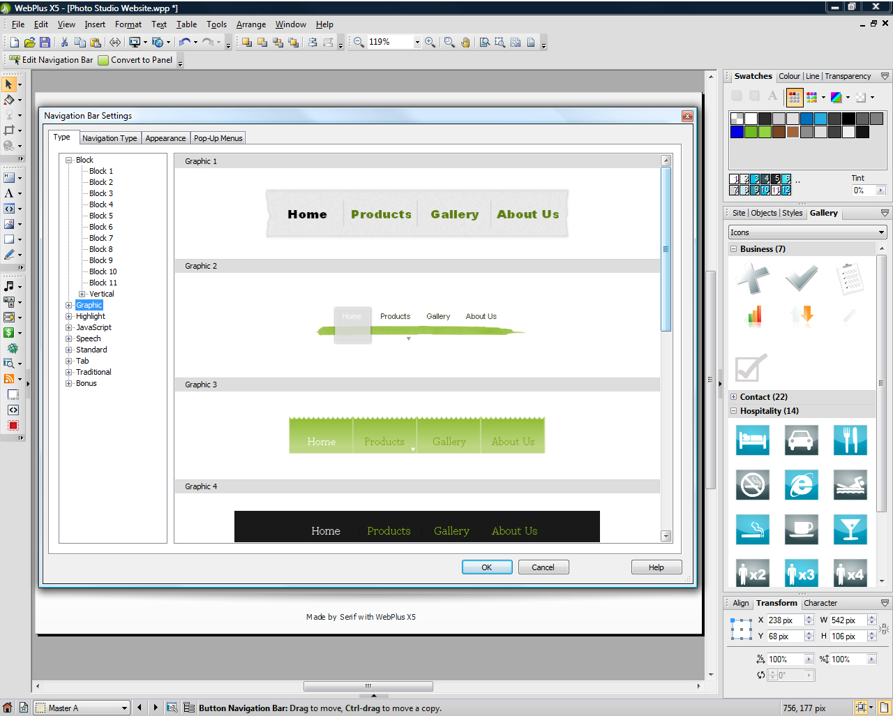 WebPlus X5, Website Builder Software Screenshot