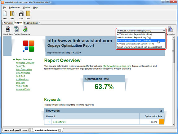 Development Software, WebSite Auditor Professional Screenshot