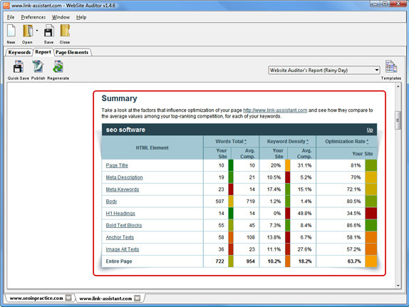SEO / Keyword Software, WebSite Auditor Professional Screenshot