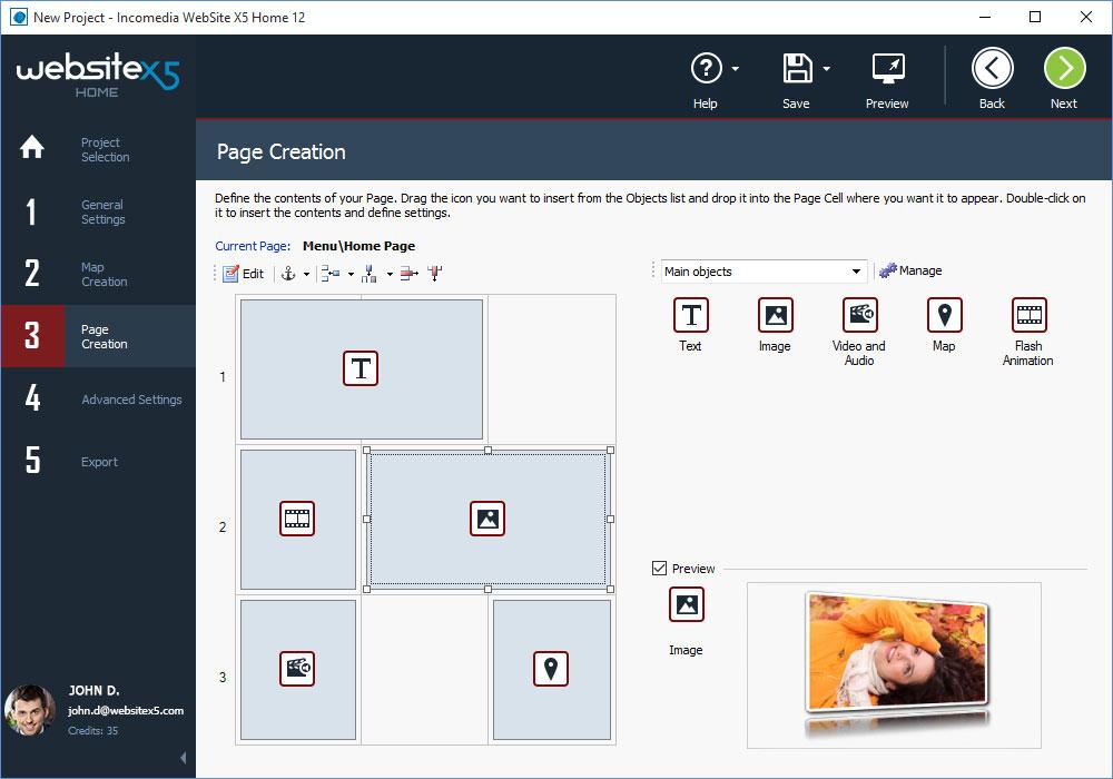 WebSite X5 Home, Website Builder Software Screenshot