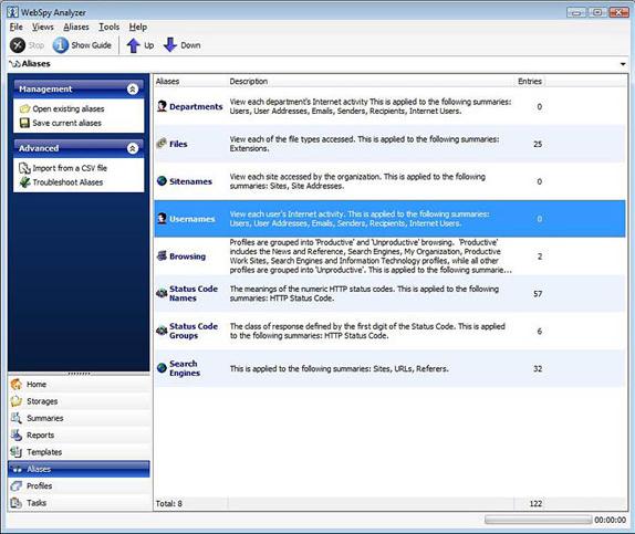 WebSpy Analyzer Standard, Activity Monitoring Software Screenshot