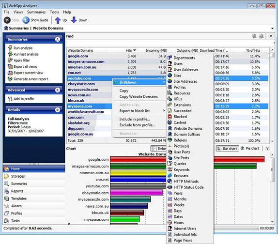 WebSpy Analyzer Standard Screenshot