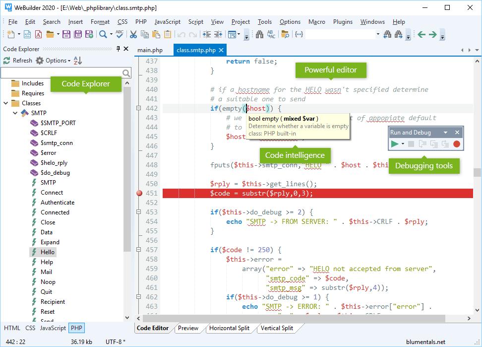 HTML Editor Software, WeBuilder 2020 Screenshot