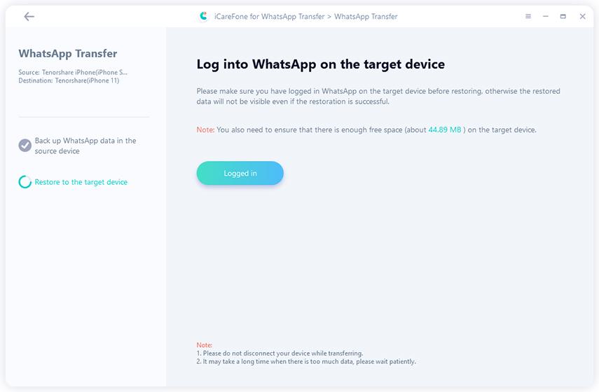 Tenorshare WhatsApp Transfer, File Management Software Screenshot