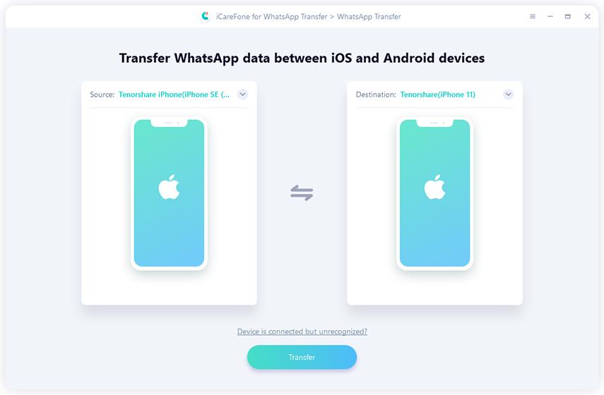 Tenorshare WhatsApp Transfer Screenshot