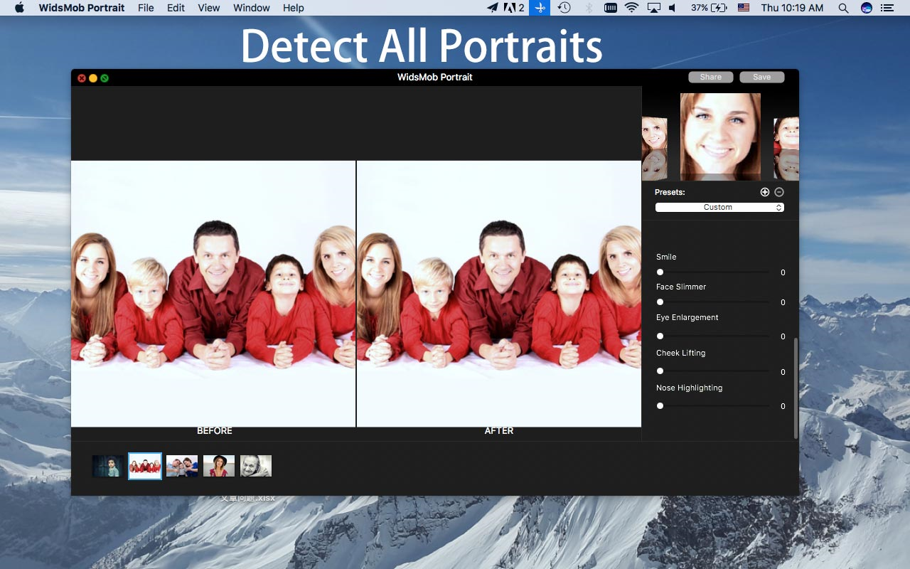 WidsMob Portrait, Photo Editing Software Screenshot
