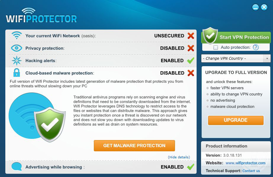 Wifi Protector, Security Software Screenshot