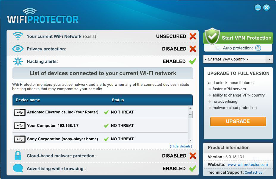 Wifi Protector, Access Restriction Software Screenshot
