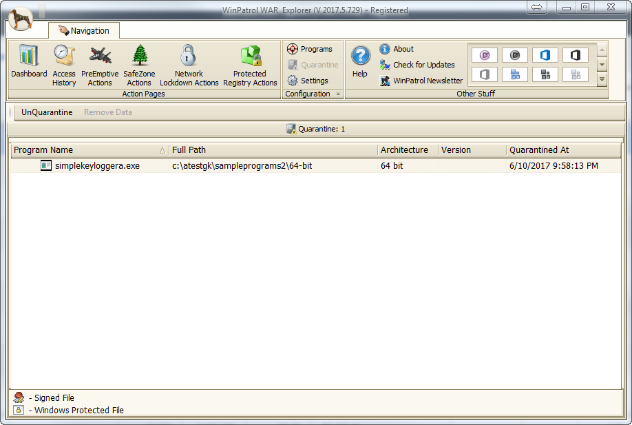 Antivirus Software, WinPatrol WAR Screenshot