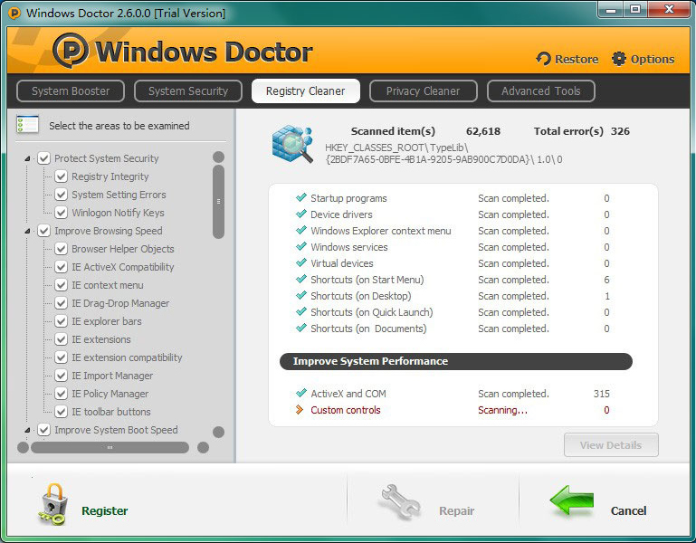 Windows Doctor (Lifetime 3 Computers), PC Optimization Software Screenshot