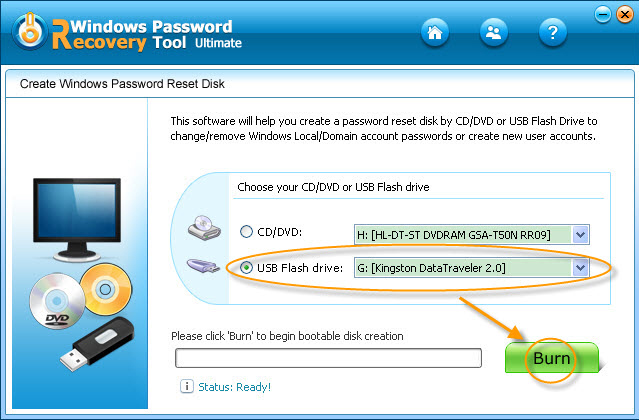 Windows Password Recovery Tool Screenshot