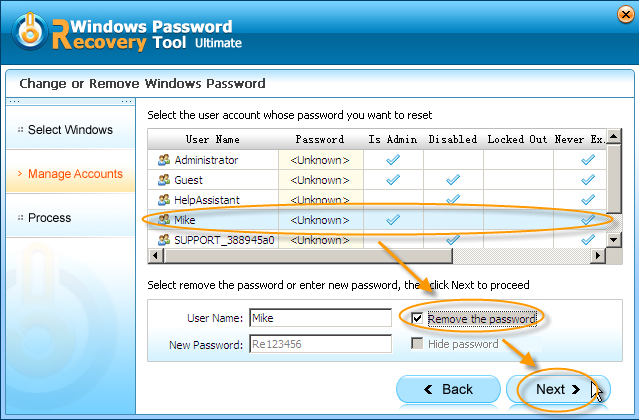 Windows Password Recovery Tool Professional, Password Manager Software Screenshot