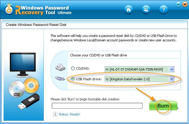 Windows Password Recovery Tool Professional Screenshot