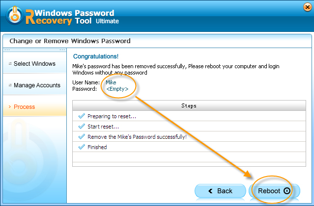 Windows Password Recovery Tool Professional, Security Software Screenshot