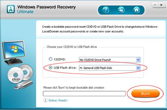 Windows Password Recovery Ultimate Screenshot