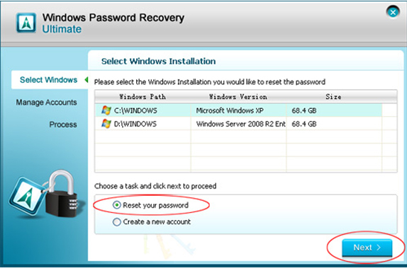 Windows Password Recovery Ultimate, Security Software Screenshot