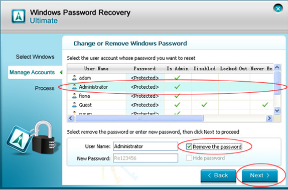 Password Manager Software, Windows Password Recovery Ultimate Screenshot