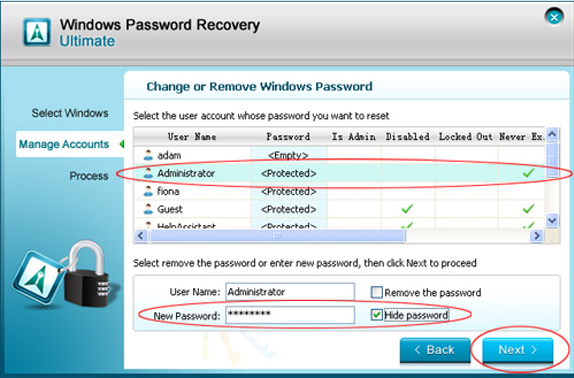 Windows Password Recovery Ultimate, Security Software, Password Manager Software Screenshot