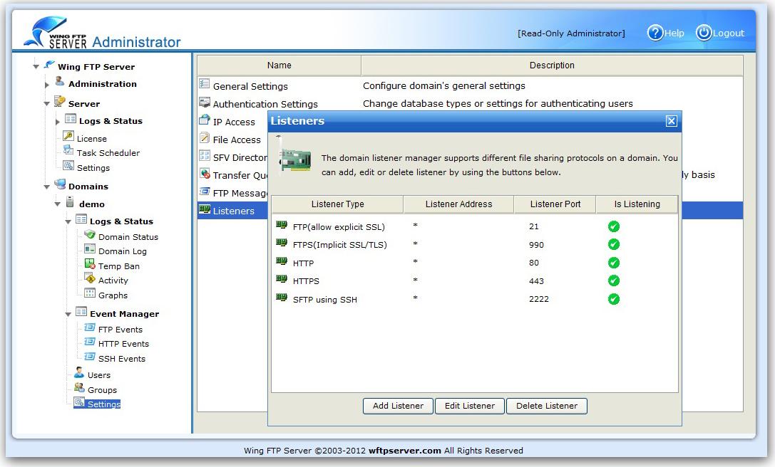 Wing FTP Server, FTP Software Screenshot