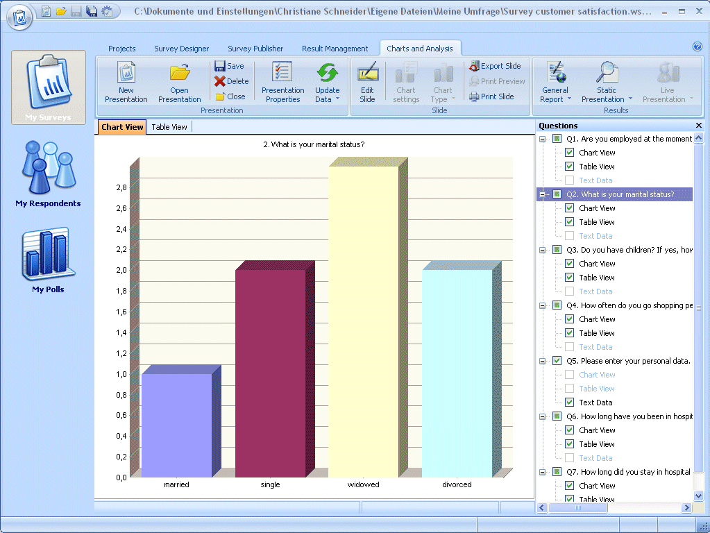 Business Management Software, WinSurvey Screenshot
