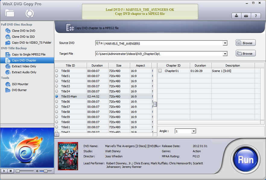 WinX DVD Copy Pro, Video Software Screenshot
