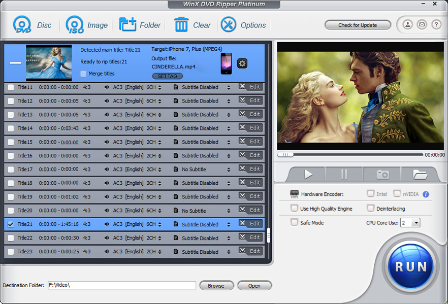 WinX DVD Ripper Platinum Screenshot