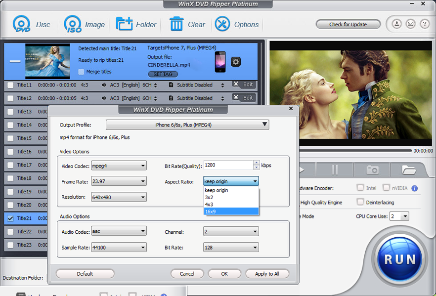 WinX DVD Ripper Platinum, Video Software Screenshot