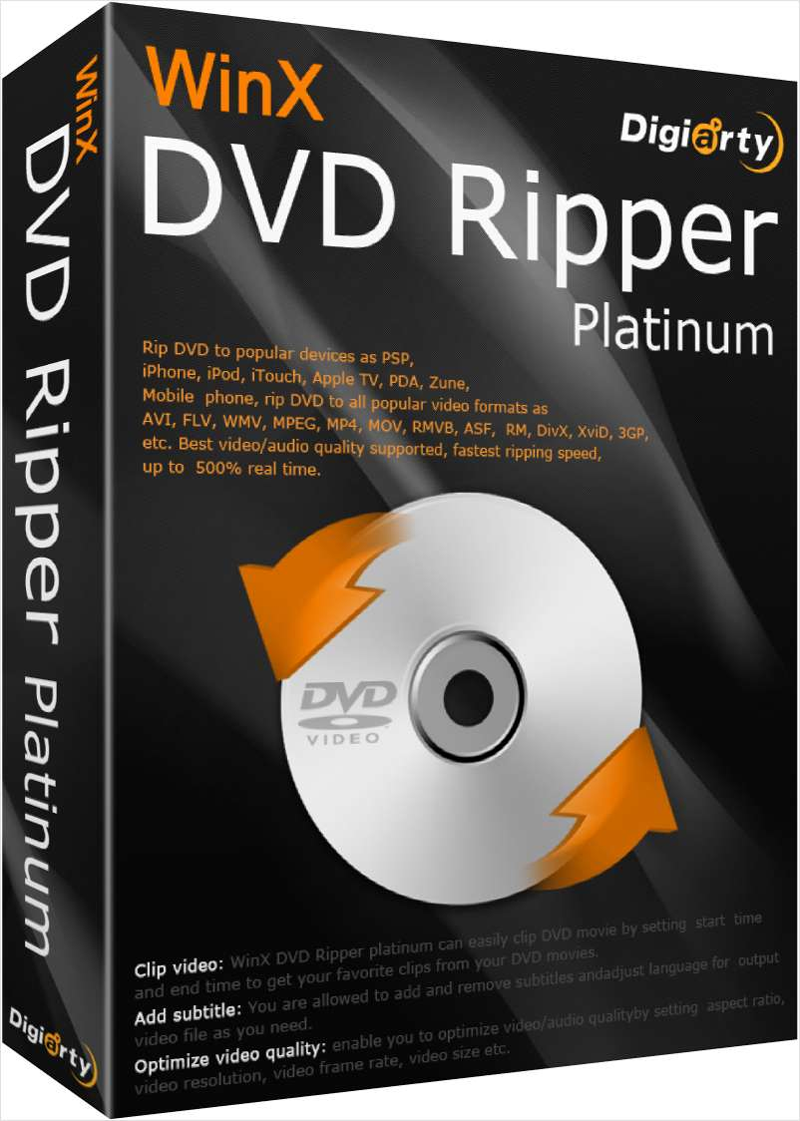 WinX DVD Ripper Platinum ($67.95 Value) FREE for a Limited Time Screenshot