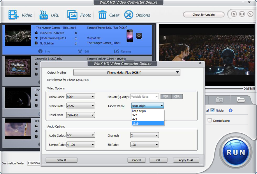 WinX HD Video Converter Deluxe, Video Software Screenshot