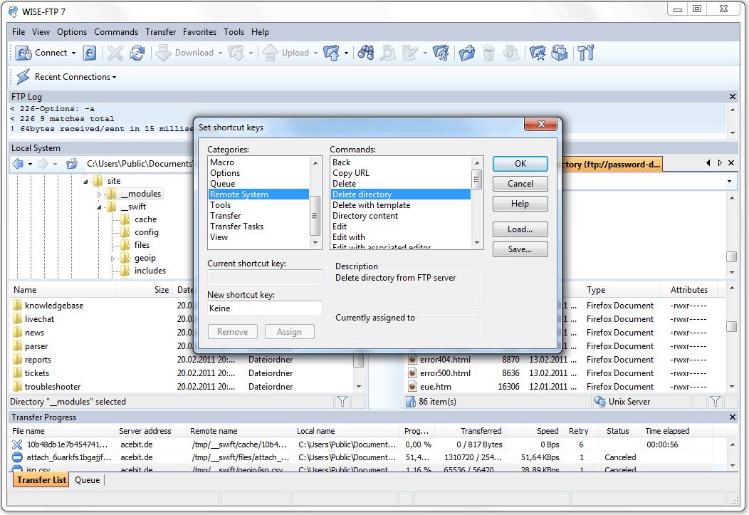 FTP Software, WISE-FTP Screenshot