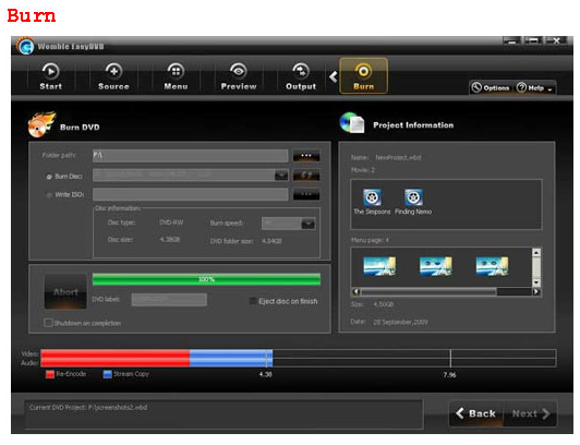 Womble EasyDVD, Video Software, DVD Authoring Software Screenshot