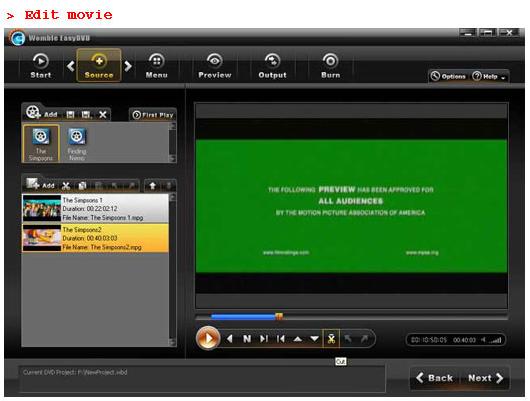 Womble EasyDVD, DVD Authoring Software Screenshot