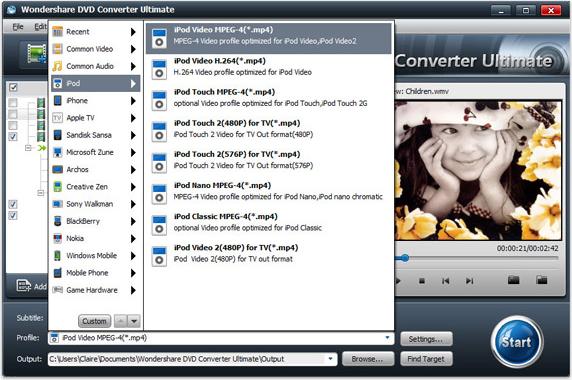 Wondershare DVD Converter Ultimate, Video Software Screenshot