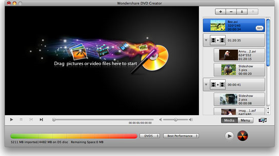 Wondershare DVD Creator for Mac Screenshot