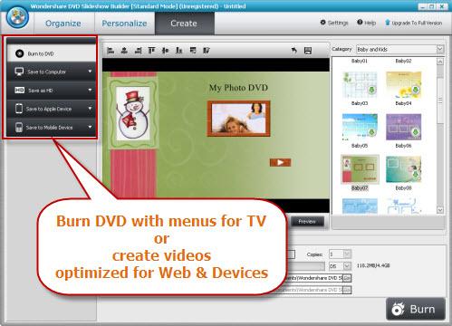 Wondershare DVD Slideshow Builder Standard, Slideshow Software Screenshot