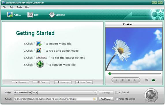 Wondershare HD Video Converter Screenshot