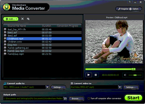 Wondershare Media Converter Screenshot