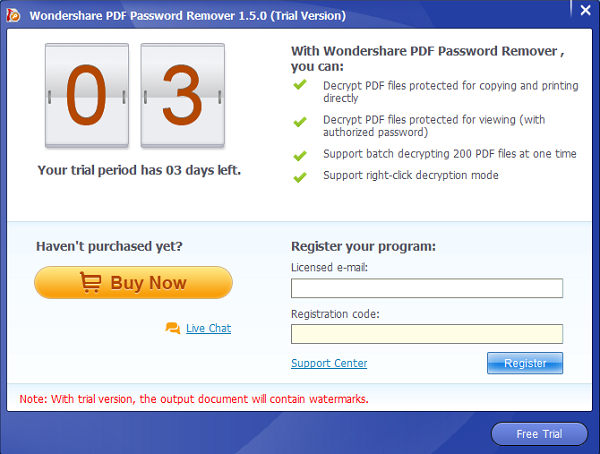 Wondershare PDF Password Remover Screenshot